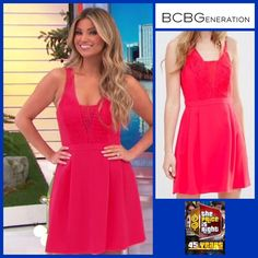 BCBGeneration Woven Lace Insert Sleeveless Dress in Bright Coral worn by Amber Lancaster
