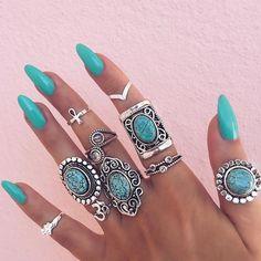 Vintage Beach Boho Ring Set, boho style, green natural stone ring, long green nails