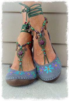 Woodland FAIRY BAREFOOT sandals Purple Forest Green Tribal ANKLETS Gypsy Sandal…