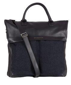 WANT Les Essentiels de la Vie Navy O'Hare Leather Trim Tweed Tote Bag | Men's Bags by WANT Les Essentiels de la Vie | Liberty.co.uk