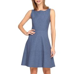 Tahari Chambray Fit & Flare Dress (Petite) ($45) ❤ liked on Polyvore featuring dresses, denim, fit and flare dress, flared dresses, fit flare dress, boat neck dress and tahari dresses