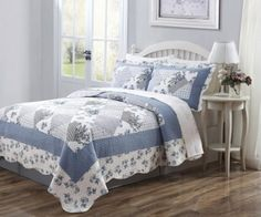 Beautiful 3 Piece Queen Connie Blue Quilt Set On amazon On sale for $49.99 + Free Shipping find it here http://amzn.to/Z1mKAm  see more great items at www.ddsgiftshop.com
