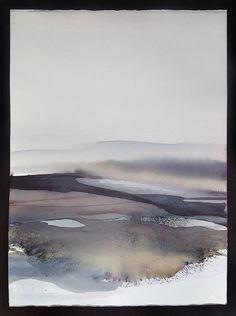 Aquarelle paysage, Original abstrait peinture, Art, Art contemporain abstrait moderne / peinture / grand paysage bleu aquarelle