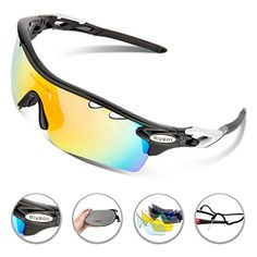 81f1f950b8 RIVBOS 801 POLARIZED Sports Sunglasses with 5 Interchangeable Lenses  (UpGrade TR Black) -