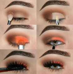 Bright orange and smokey eyeshadow, small eye Bright orange and smokey eyeshadow, small eye - Das schönste Make-up Makeup 101, Makeup Goals, Love Makeup, Makeup Inspo, Makeup Inspiration, Hair Makeup, Orange Eyeshadow, Orange Makeup, Eyeshadow Makeup