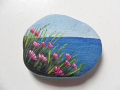 Seaside thrift flowers miniature painting on English sea glass