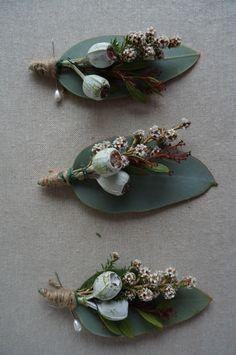 Tea-tree and tetragona boutonniere by RANE flowers