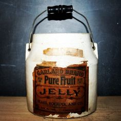 "Rare 6"" jelly crock with original paper label. The pure fruit jelly was supplied by Garland Brand and the crock sold by Sears, Roebuck and Co. #antique #crock #jelly #fruit #vintage #vintagechic #home #farm #farmlife #original #instagood #decor #design #homedecor #garden #preserves #sears #searsroebuck #garland #garlandbrand #chicago #illinois #hindsstudio #pottery"