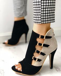 1d660b1f7153 Colorblock Splicing Hollow Out Buckled Thin Heels