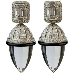 Crystal Onyx Diamond Drop Earrings | From a unique collection of vintage drop earrings at https://www.1stdibs.com/jewelry/earrings/drop-earrings/