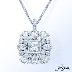Style 7202 Platinum and diamond pendant featuring a beautiful 1.80 ct princess-cut diamond encircled by pear-shape and round diamonds.