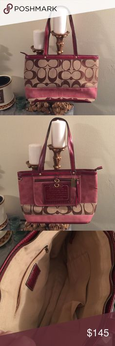 Coach Signature reversible stripe tote Beautiful raspberry color leather with tan canvas. Red leather trim. Great condition! Coach Bags Totes