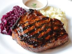 """Grilled Mongolian Pork Chops   """"I have a great marinade I've been using for the past 25 yrs, but I thought I'd try this one, and boy, was I glad I did. My husband and daughter loved it! I didn't change a thing. I did try it with chicken and it was very good. I tried it with ribs, and it was """"Okay"""" Definitely finger licking good!"""" -ann cruz"""