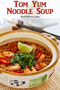 This spicy tangy Tom Yum Noodle Soup with chicken and shrimps is sure to wake up your taste buds. Less than 20 minutes to prepare. With video.