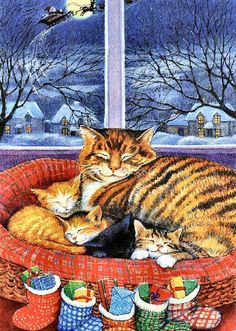 Christmas cat with kittens