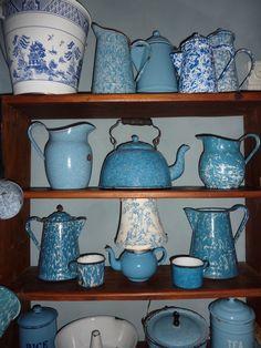 blue graniteware - love the colors