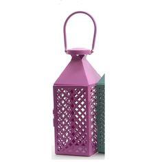 "Fancy Fair Pink Diamond Patterned Pillar Candle Lantern 10"""