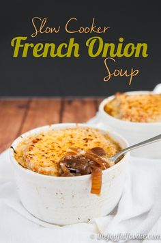 Slow Cooker French Onion Soup ~ Super easy French onion soup made entirely in the slow cooker. No extra pans or sauteing required! Optionally, you can top with cheese for serving. Yum! ~ from The Joyful Foodie