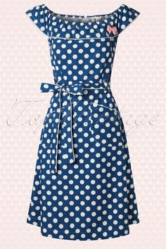House of Dots - 50s Georgia Blue Dress with White Dots