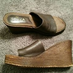 Sbicca sandals Brown leather upper with a brown wedge heel. Dress them up or down. Hand made. Worn a few times. Sbicca Shoes Sandals
