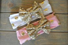 Sparkle Sequin Bow Headbands in Solids, Stripes & Metallics | Jane