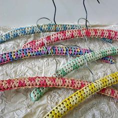 6 Covered Wood Hangers / Wood and Crochet by ConceptFurnishings, $25.00