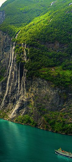 Seven Sisters Waterfall, Norway By Bergen.  Seen this on our 5th Anniversary cruise to Norway.  June 2011
