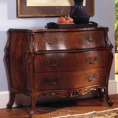 A stunning reproduction French Bombe Chest with hand-carved shoulder detail. Made from quality walnut veneer on a solid mahogany wood carcass. Home Furniture Online, Furniture Making, Walnut Furniture, Antique Furniture, Animal Print Furniture, Tuscan Dining Rooms, Vanity Table Vintage, British Colonial Decor, Modern Dresser