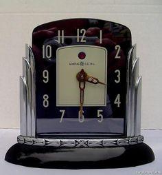 RARE VINTAGE ART DECO G-E TELECHRON CLOCK~ LOTUS ~ W/ CATALIN / BAKELITE BASE