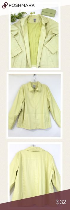 """Chico's brushed cotton Spring jacket. Chico's size 2 is equivalent yo a Large or a size 12 according to Chico's size chart. Beautiful celery green jacket. Zips up the front and has front side slit pockets. Quality fabric with a luster sheen. 100% cotton shell 109% polyester lining. Excellent condition. Worn only a couple of times. 🔹Bust 46"""" 🔹Length 25.5"""" 🔹Sleeve length 24"""" Has two tiny pinprick holes near zipper at bottom, where a tag was removed.(see photo #4) Not noticeable when…"""