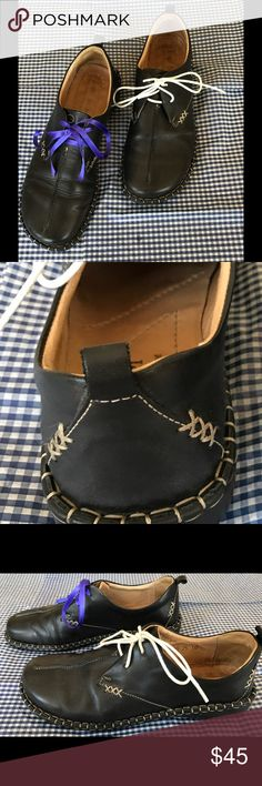 """Josef Seibel lace shoes, European Comfort Shoes This dark blue Josef Seibel designer leather shoes come with two different pair of shoe laces. Heel 1"""" high, worn only several times, no scratches!  I usually wear 38 1/2 and they fit me well. Josef Seibel Shoes"""