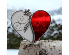 Frozen Heart Handmade Stained Glass window hanging by AtelierQ
