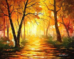 "876 Yellow Fog 3 — PALETTE KNIFE Oil Painting On Canvas By Leonid Afremov - Size: 30"" x 24"" (75 cm x 60 cm)"