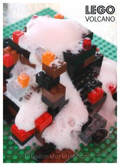 Build a LEGO Volcano Lego Volcano Experiment baking Soda Vinegar Volcano Volcano Science Experiment, Cool Science Experiments, Science Fair Projects, Lego Projects, Volcano Science Projects, Stem Projects, Preschool Science, Science For Kids, Activities For Kids