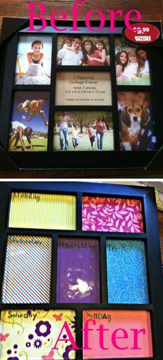 Photo Frame turned Dry Erase Calendar Tutorial!