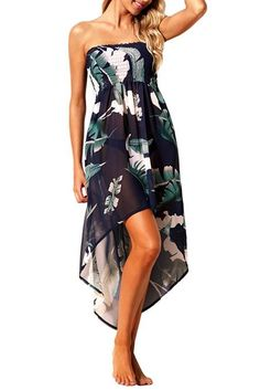 a8f94bbafead Tropical Leaf Print Navy Convertible Beach Dress