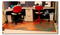 Plywood Rug - what a brilliant alternative to the ugly chair mats. For those of us stuck with carpet in our crafting/sewing spaces.