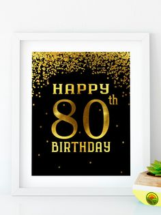 INSTANT DOWNLOAD Happy Birthday 80 Printable 80th birthday