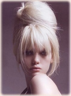 Updo with heavy bangs
