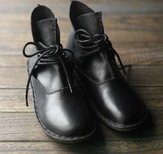 Handmade ShoesBlac Ankle BootsOxford Women Shoes Flat par HerHis