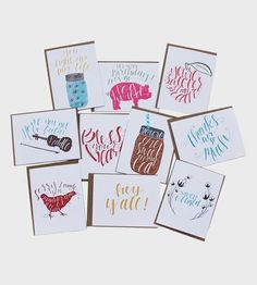 Snail mail some southern greetings with this note card set. Each card features a southern saying in swirly hand drawn calligraphy, and is blank on the inside to add your own message. Don't worry y'all, there's a card (and a saying) for all occasions.