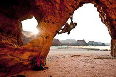 house-under-a-rock: Alex Honnold bouldering in the Ennedi Desert photo: Jimmy Chin