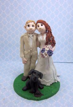Custom Bride and Groom  with dog Wedding by lynnslittlecreations, $30.00