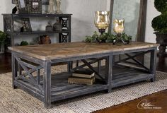 Uttermost - Spiro Cocktail Table Solid, reclaimed fir wood hand finished in brushed black with natural wood undertones. Top is salvaged fir lumber sun faded and left natural with only a light gray glaze. 56 W X 17 H X 30 D (in) Distressed Wood Coffee Table, Rustic Coffee Tables, Cool Coffee Tables, Decorating Coffee Tables, Rustic Wood, Rustic Cafe, Salvaged Wood, Rustic Decor, Diy Garden Furniture