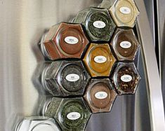 12 Piece Hanging Spice Rack-Silver   Etsy Hanging Spice Rack, Pull Out Spice Rack, Spice Bottles, Finger Pull, Spice Storage, Hook And Loop Tape, Cabinet, Glass Jars, Chalk Paint