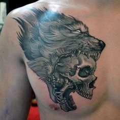 wolf and skull tattoo