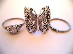 Lot of three rings sterling silver sz.9 butterfly ring *pretty vintage rings*