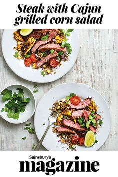 Our steak with Cajun grilled corn salad recipe is a great post work-out supper or a quick midweek meal for two. Less than 30 minutes to make, and it's gluten and dairy-free. Corn Salad Recipes, Corn Salads, Midweek Meals, Easy Weeknight Meals, Low Carb Greek Yogurt, Grilled Corn Salad, Healthy Fruits, Healthy Eats, Dairy Free Recipes