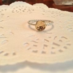 2 tone hammered disk ring