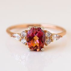 Gemstone Engagement Rings, Gemstone Rings, Coral Nails With Design, Ruby Ring Designs, Rose Gold Aesthetic, Ruby Ring Vintage, Red Sapphire, Topaz Ring, Alexandrite Ring